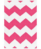 RugStudio presents Dash And Albert Chevron 81768 White / Fuschia Woven Area Rug